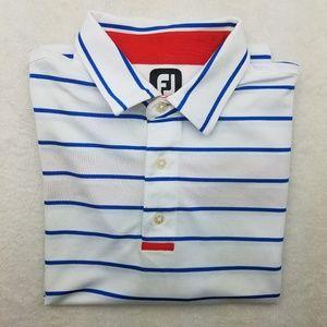 Footjoy White Red Blue Striped Golf Polo XL